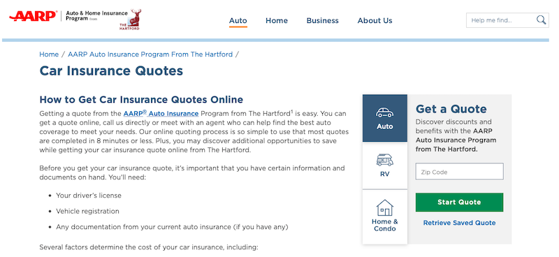 Best Car Insurance Companies - Hartford quote page