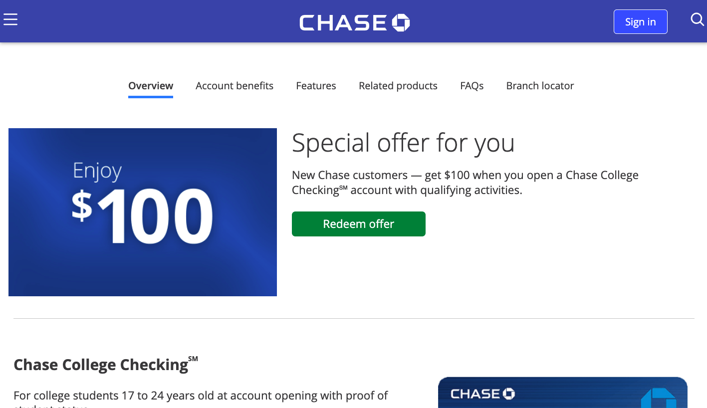 Chase College Checking Account